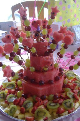 Stacked Fresh Watermelon Cake for summer birthday parties This