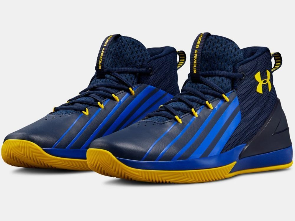 2018 Under Armour Mens Ua Lockdown 3 Basketball Blue Gold Under Armour Basketball Shoes 2018