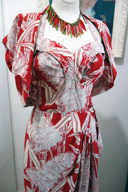 Rayon Hawaiian Sarong Dress with Matching Bolero Jacket