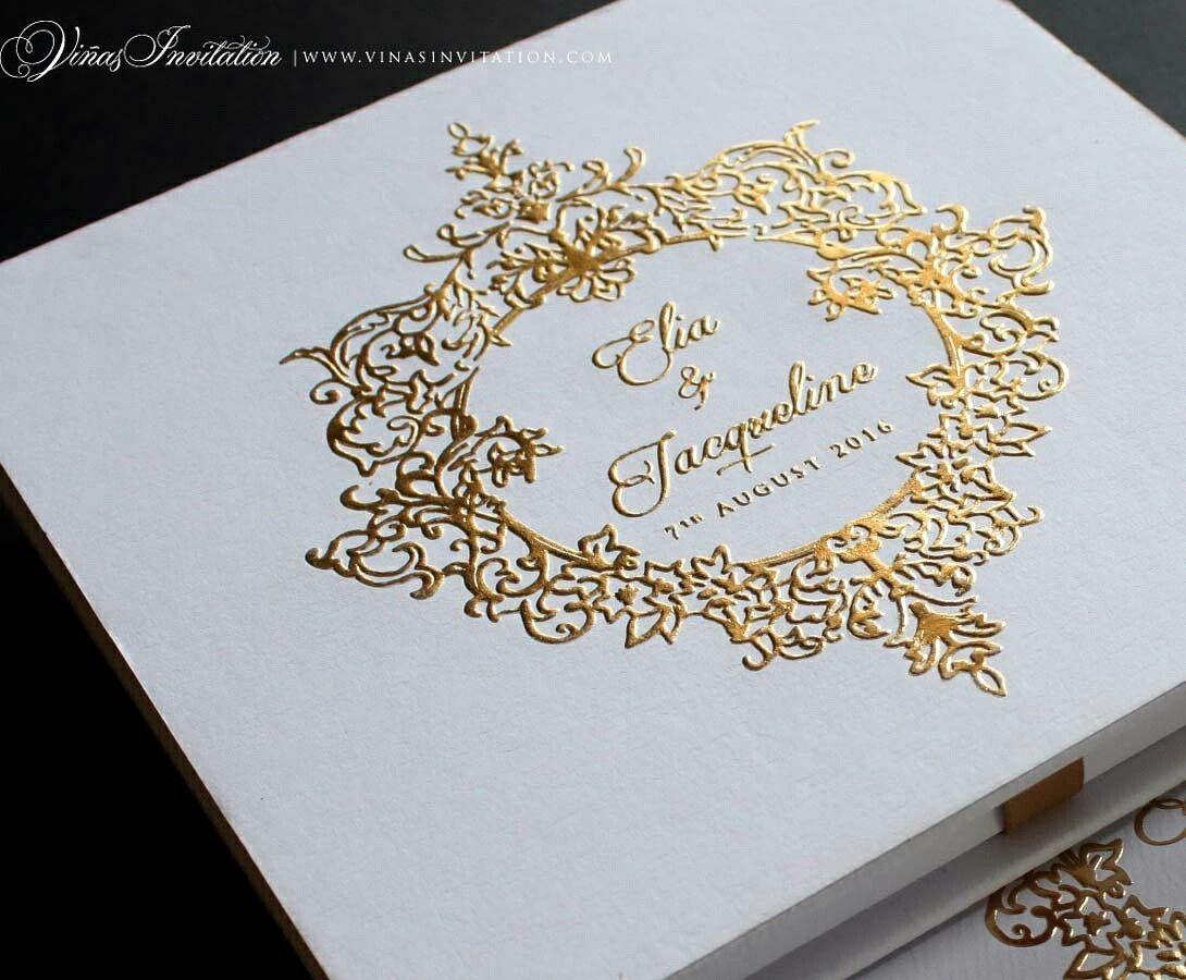 Vinas invitation. Gold emboss. Emboss. Classic emboss. Classic ...