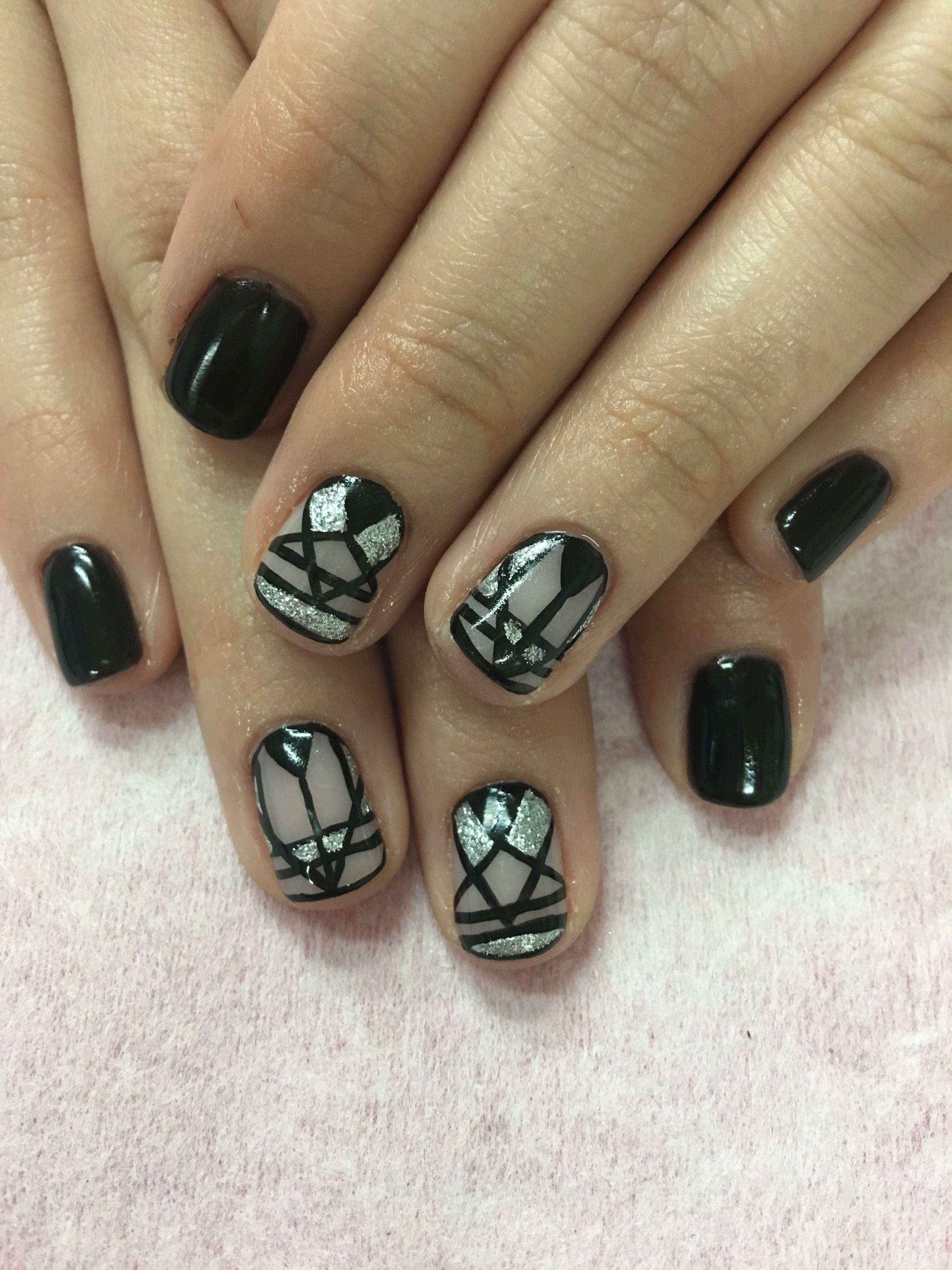 Hand Painted Geometric Design And Black Gel Nails Black Gel Nails Nail Designs Gel Nails