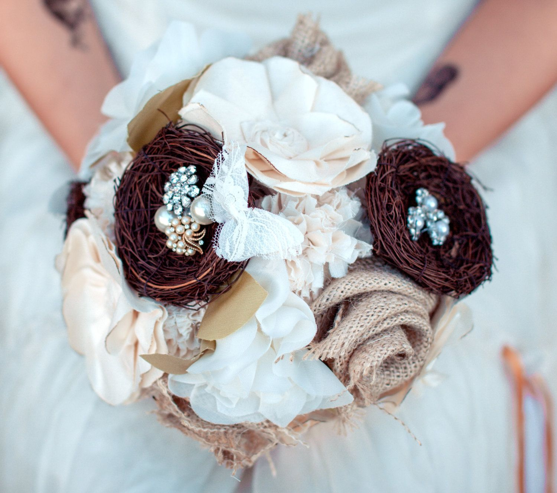 Nest bridal bouquet fabric bridal bouquet woodland wedding boho nest bridal bouquet fabric bridal bouquet woodland wedding boho bouquet weddings bridal izmirmasajfo