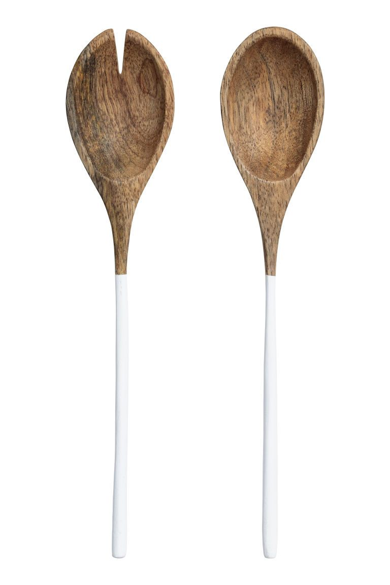Wooden Salad Servers Wood White Home All H M Us In 2020 Salad Servers H M Home Farm House Living Room