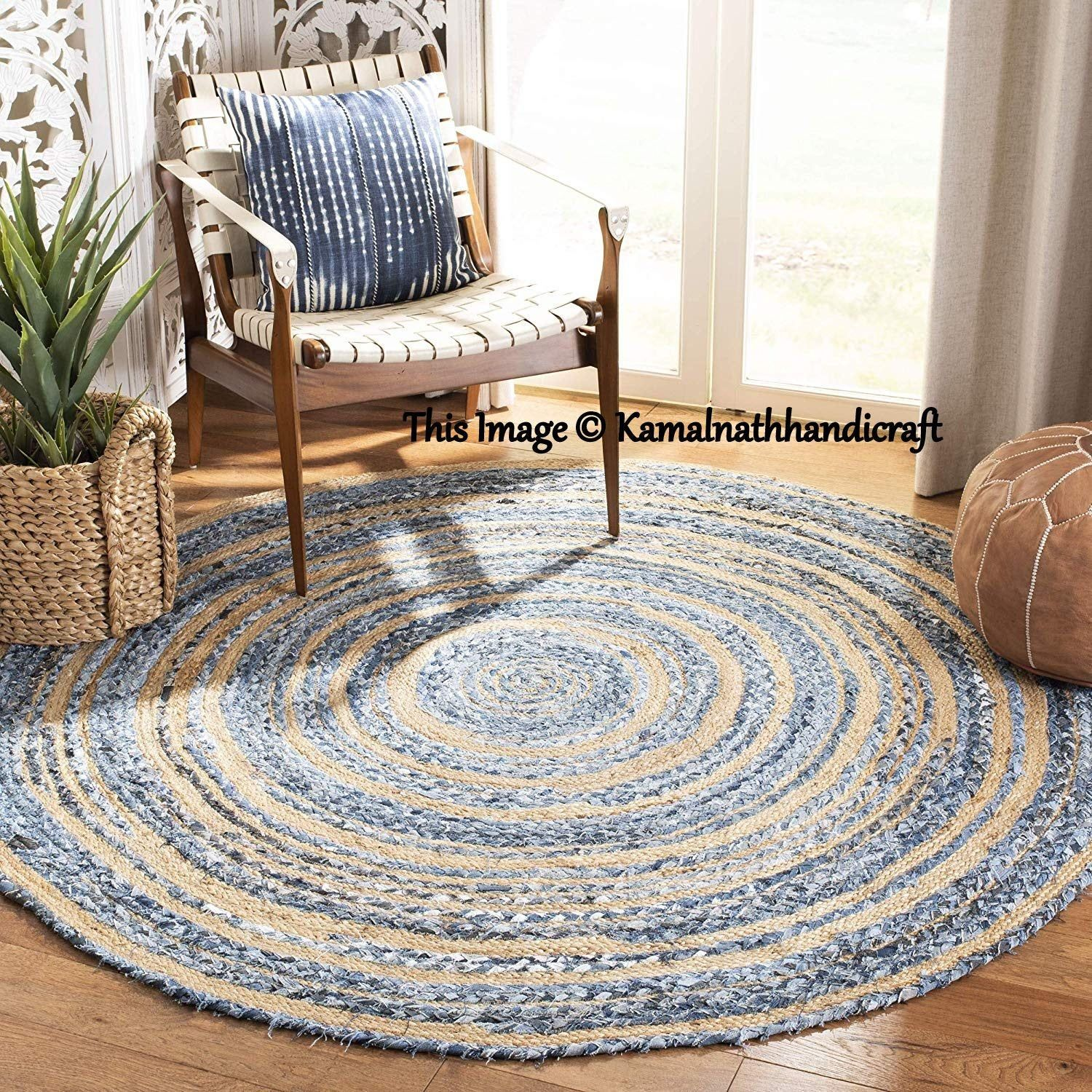 Indian Handmade Hand Braided Bohemian Colorful Jute And Cotton Area Rug Multi Colors Round Home Decor Rugs Cotton Area Rugs 8 Feet Diameter In 2020 Braided Area Rugs Natural Jute Rug Floor Rugs