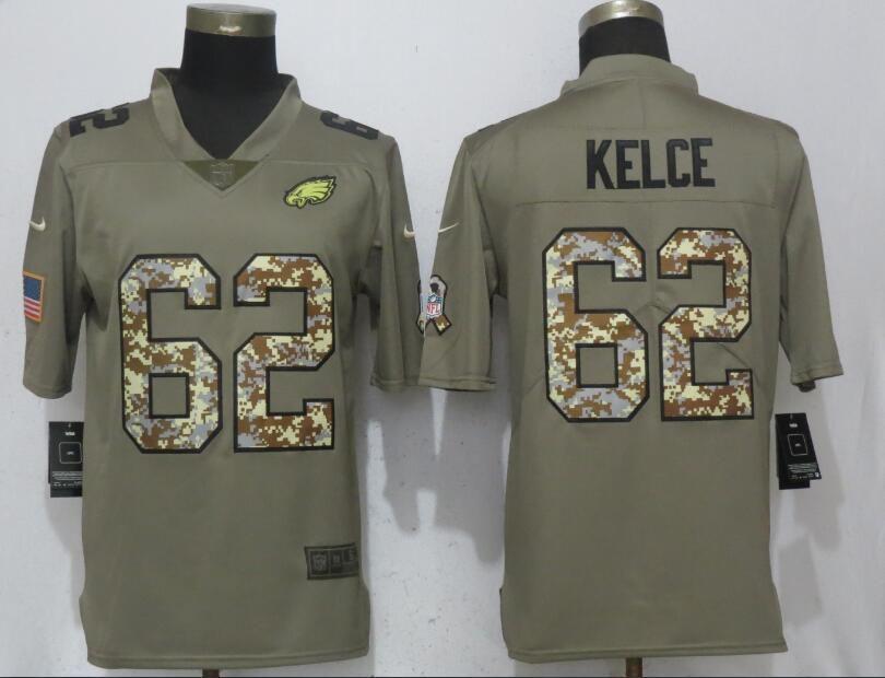 Men Philadelphia Eagles 62 Kelce Olive Camo Carson Salute to Service Nike  Limited NFL Jerseys 085c415f3