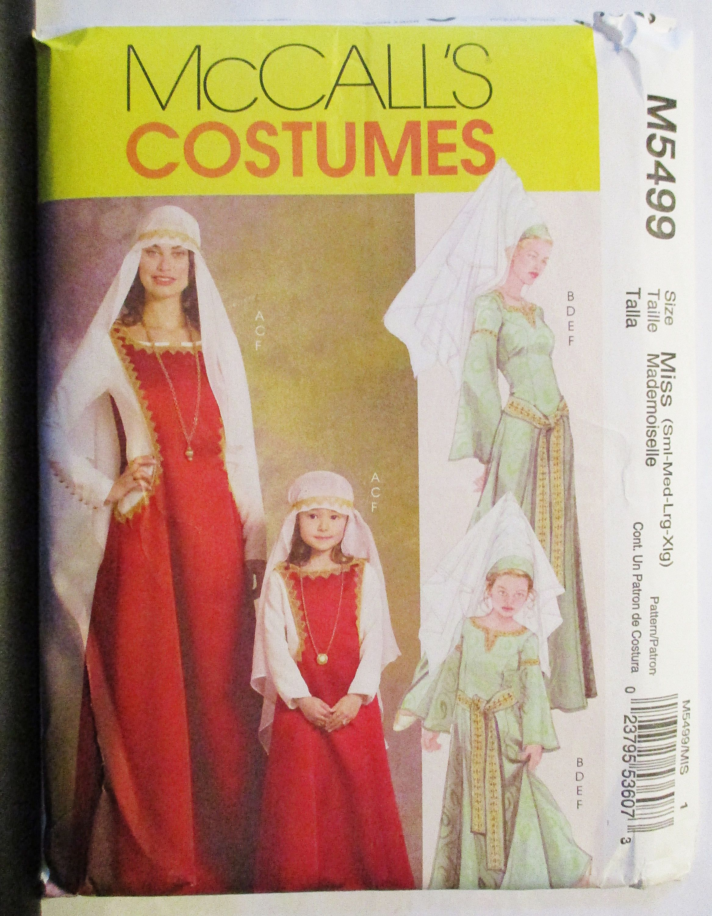 Mccalls 5499 sewing pattern misses medival costumes pattern size s mccalls 5499 sewing pattern misses medival costumes pattern size s m l xl uncut jeuxipadfo Images