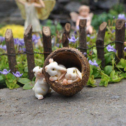 Miniature Fairy Garden Bunnies In A Walnut Georgetown Home U0026 Garden  Http://www
