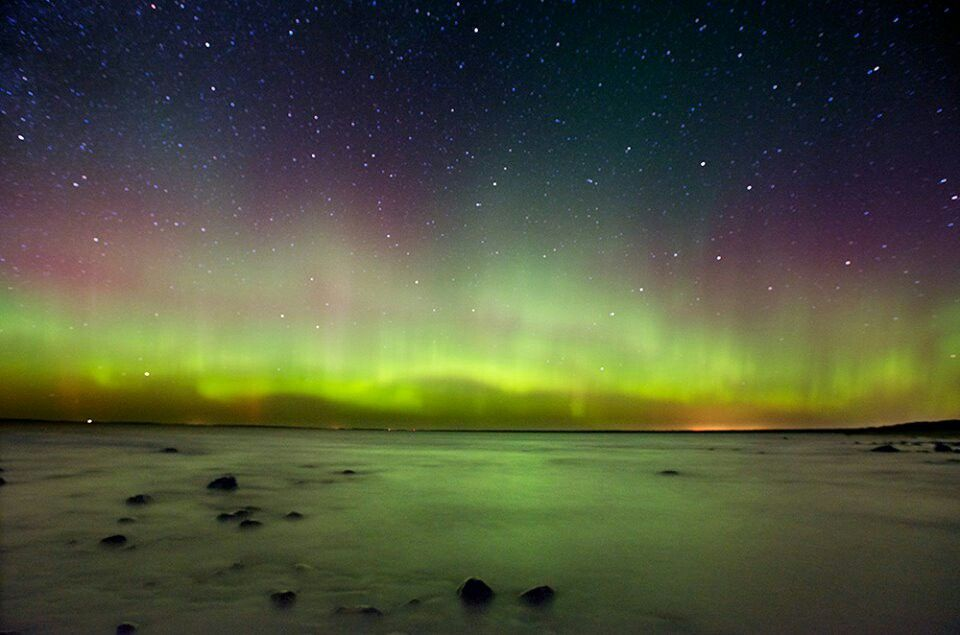Northern lights over Sturgeon Bay - northern Emmet County