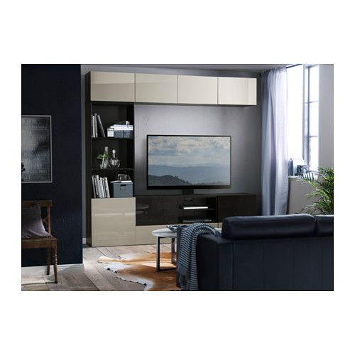 BESTÅ TV storage combination/glass doors - black-brown/Selsviken high gloss/beige smoked glass, drawer runner, soft-closing - IKEA