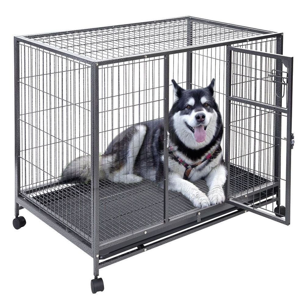 43 Inch Heavy Duty Large Metal Dog Crate Tray Dog Cage Portable Travel Kennel Dog Playpen Large Dog Crate Puppy Playpen
