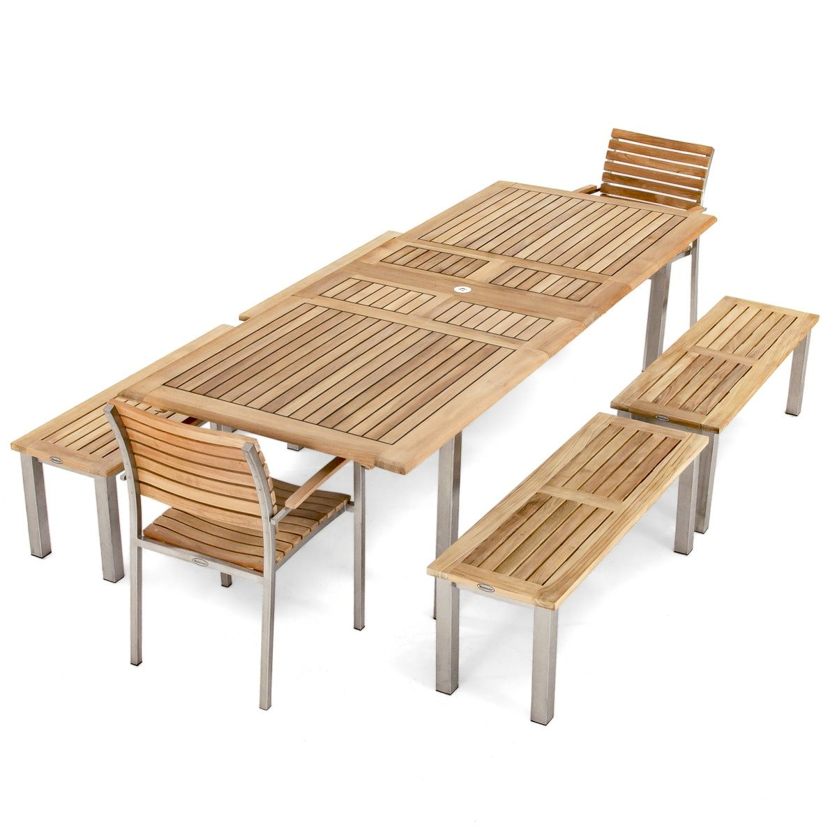 Teak And Stainless Steel Outdoor Dining Set Seats 10 Includes 2