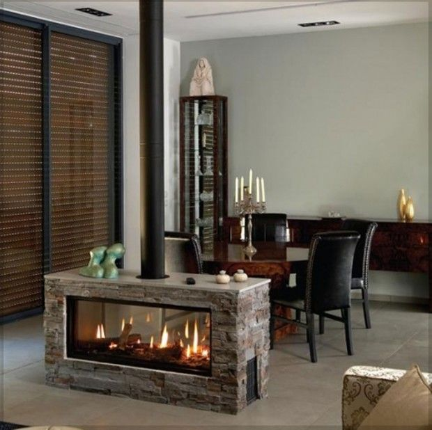Simple Fireplace In The Middle Of The Room Modern Fireplace Home Fireplace Fireplace Design