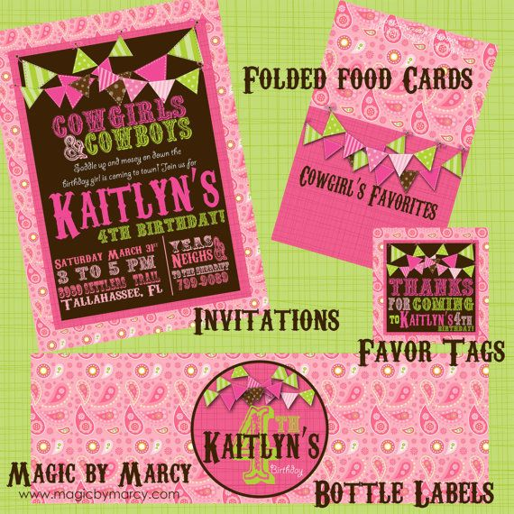 Perfect party printables for a cowgirl or pony party at www.magicbymarcy.com