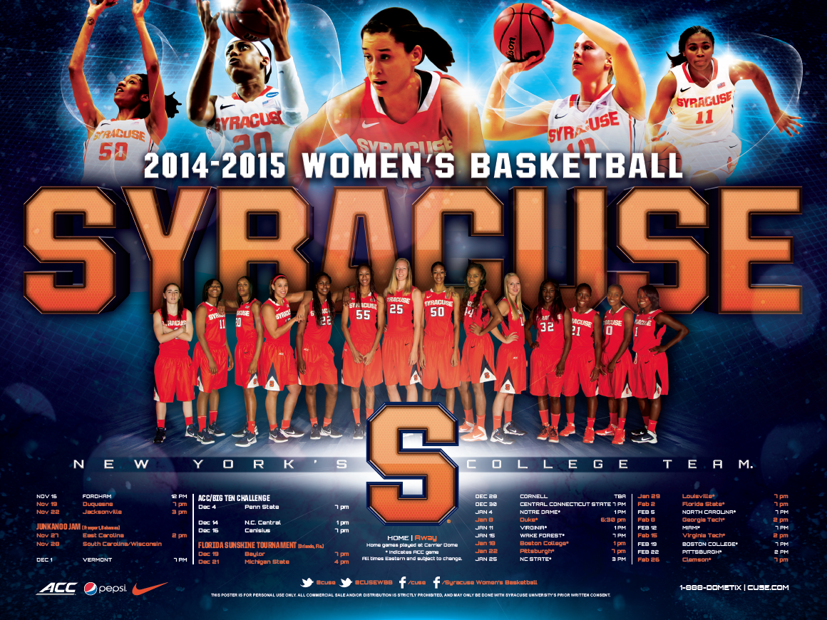 Syracuse Women S Basketball Poster 2014 2015 Our Work