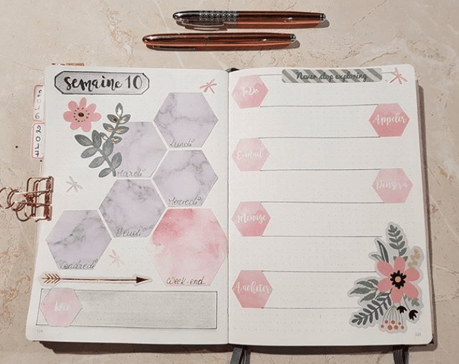 30 Gorgeous Watercolor Bullet Journal Layout Ideas | ElizabethJournals