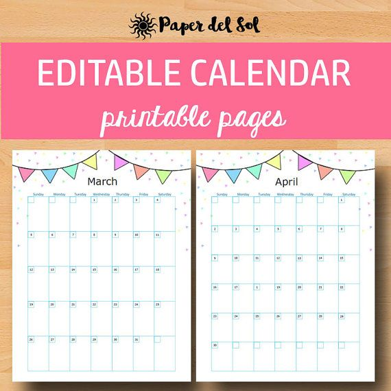 | Printable Calendar 2017, Printable Wall Calendar | Never miss a birthday with these printable calendars! Use as printable planner pages in your binder, or as a 2017 calendar. The editable calendar pages can be edited to create your own monthly planner. Two pages are included - one page includes five empty weeks, and one page includes six empty weeks. https://www.etsy.com/listing/483620371