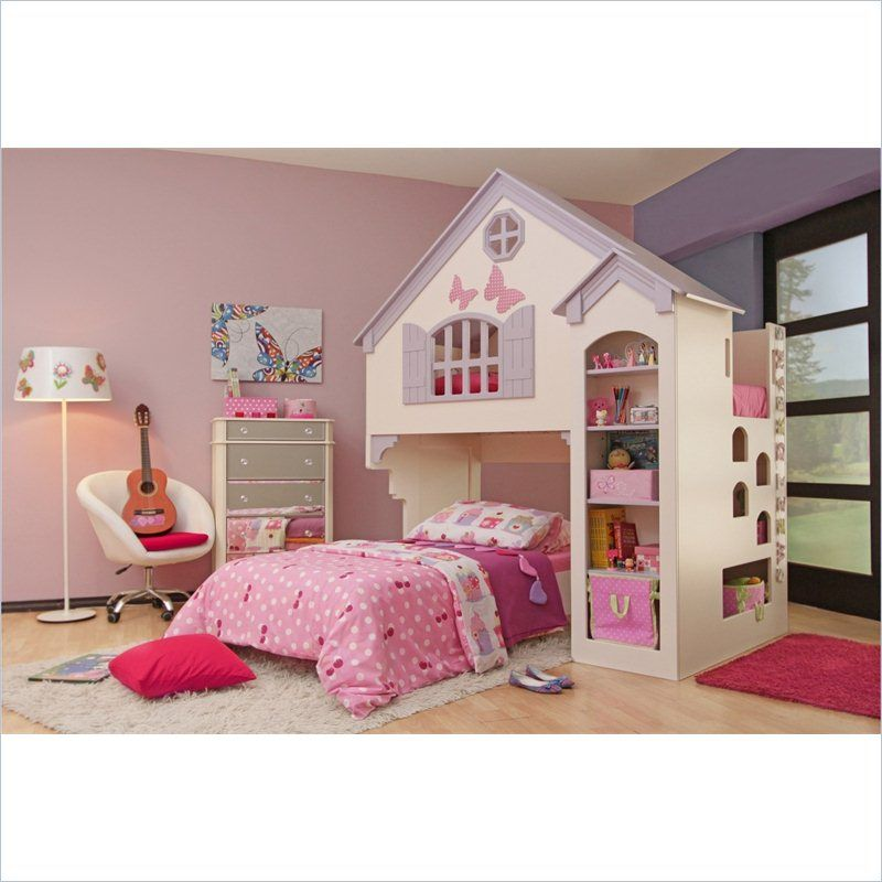 Best Proman Amberly Dollhouse Bunk Bed In Milky White Purple 400 x 300