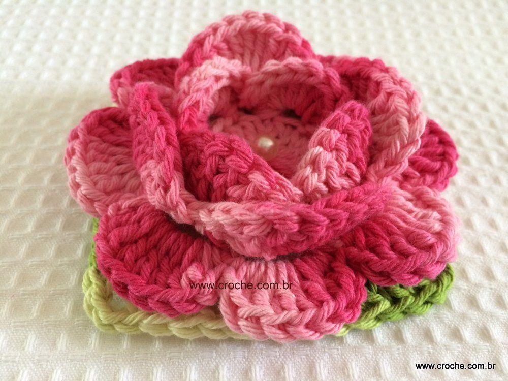 Flor roseta aberta passo a passo   Häckeln und Blumen