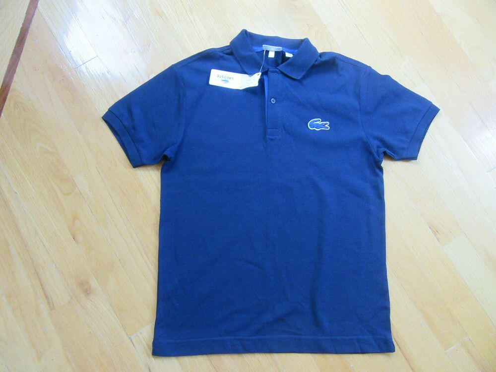 SIZE 16YR NWT $45 LACOSTE BOYS/' 100/% COTTON DARK NAVY CLASSIC PIQUE POLO SHIRT