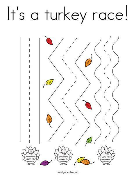 It's a turkey race Coloring Page - Twisty Noodle ...