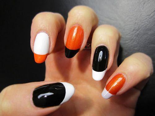 Orange Black White Silver Nails Bad Nail Art