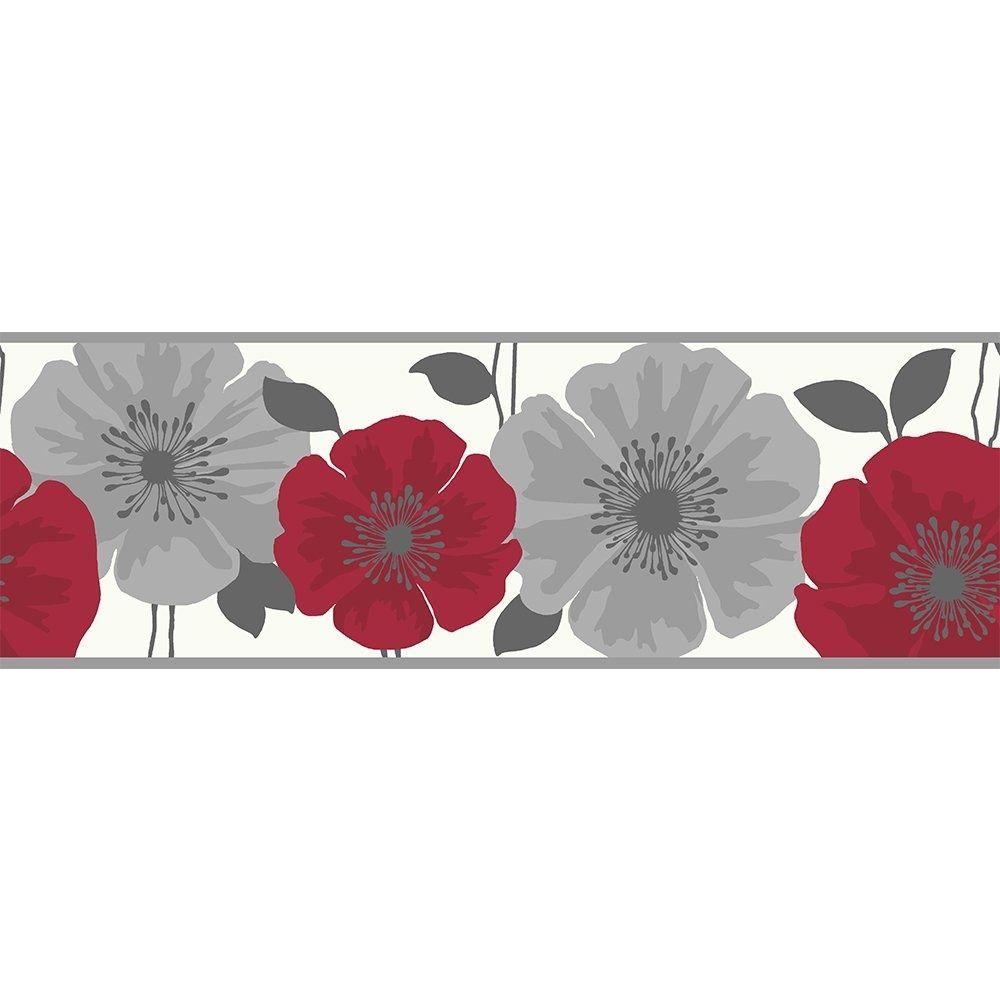 Buy Fine Decor Poppie Wallpaper Border Red White Silver Floral Wallpaper Border Poppy Wallpaper Wallpaper Border