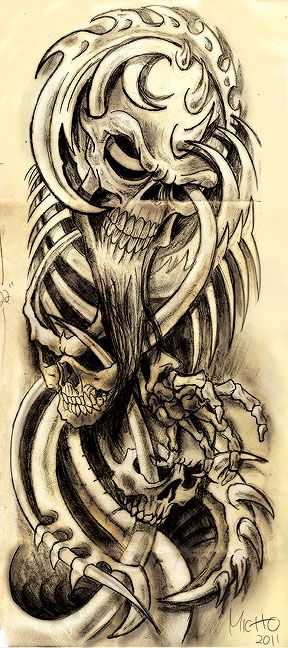 biomech skulls | Biomech Skull by Franknarf | Body art ...