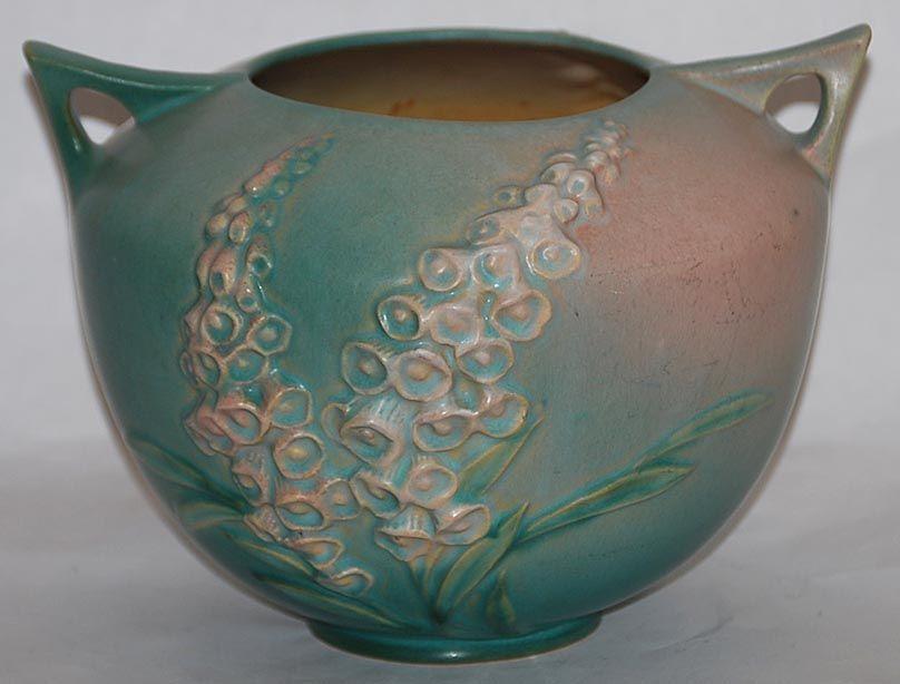 Roseville Pottery Patterns Roseville Pottery Foxglove Green Bowl