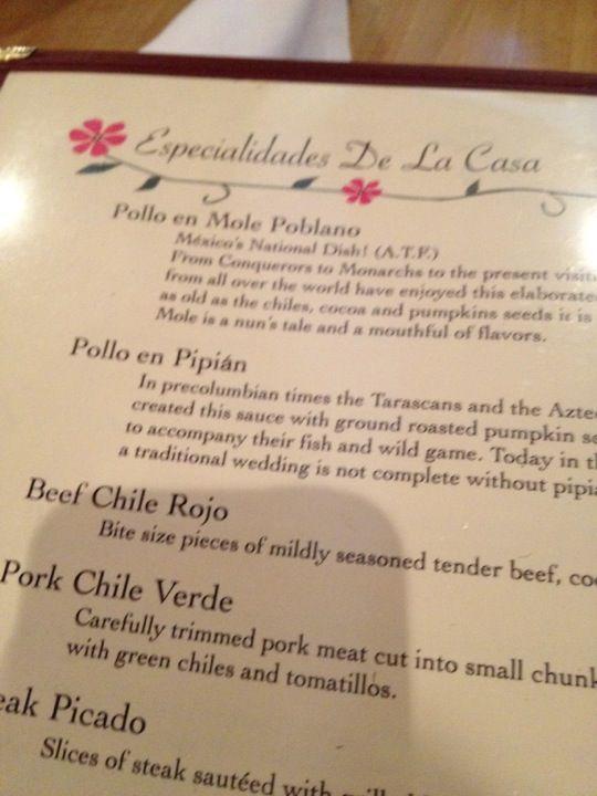 El Mirasol Regional Cuisines- chicken pepian is specialty.