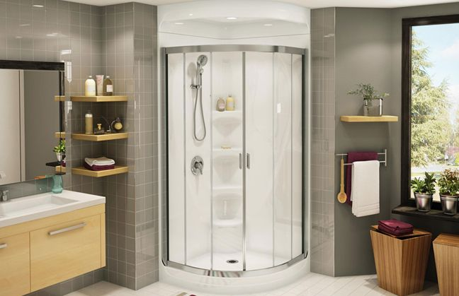 One Piece corner Shower Inserts with recessed shelves | SHOWER ...