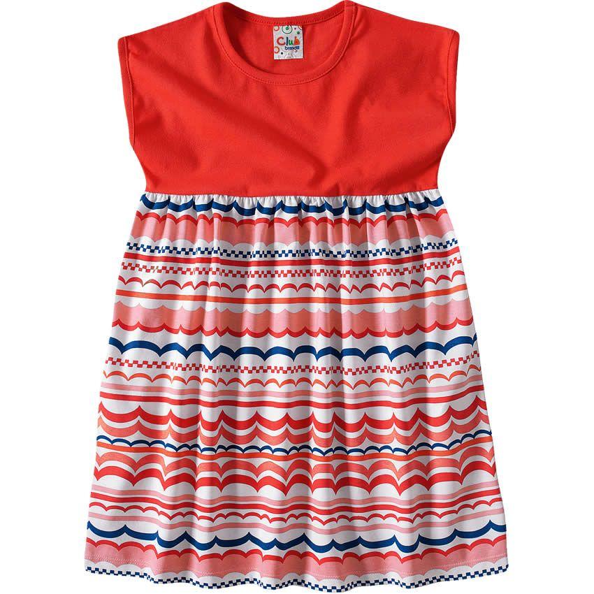 Vestido Infantil Feminino Estampado Vermelho - Brandili :: 764 Kids | Roupa bebê e infantil