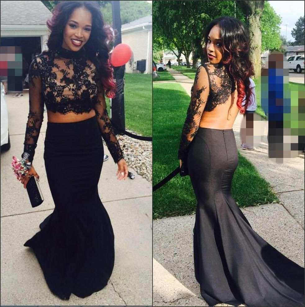 cheap two pieces prom dresses high neck lace long sleeves