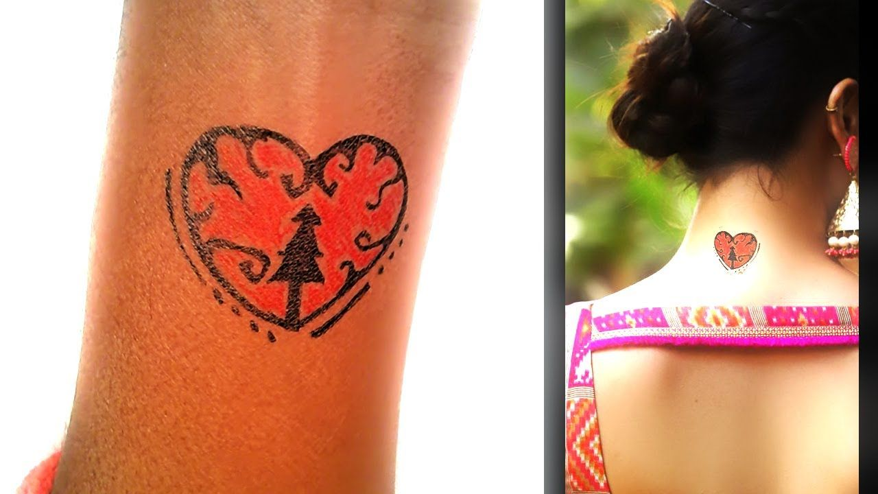 Photo of How To Made Christmas Tree with heart Tattoo temporary tattoo art – New Tattoos