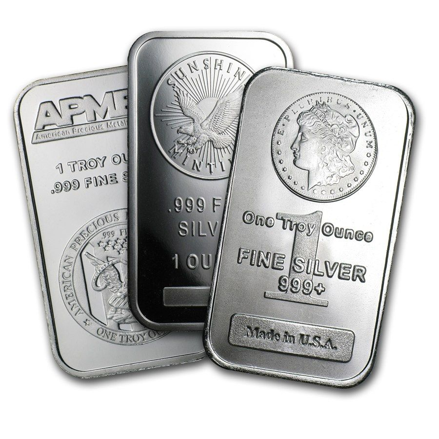 1 Oz Silver Bars Various Brands Silver Bars Buy Gold And Silver Silver