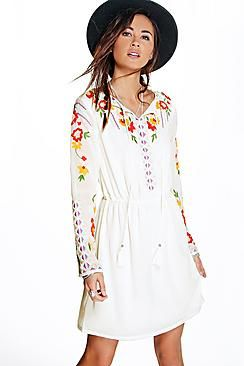 18de47ac3877 Boutique Anya Embroidered Smock Dress
