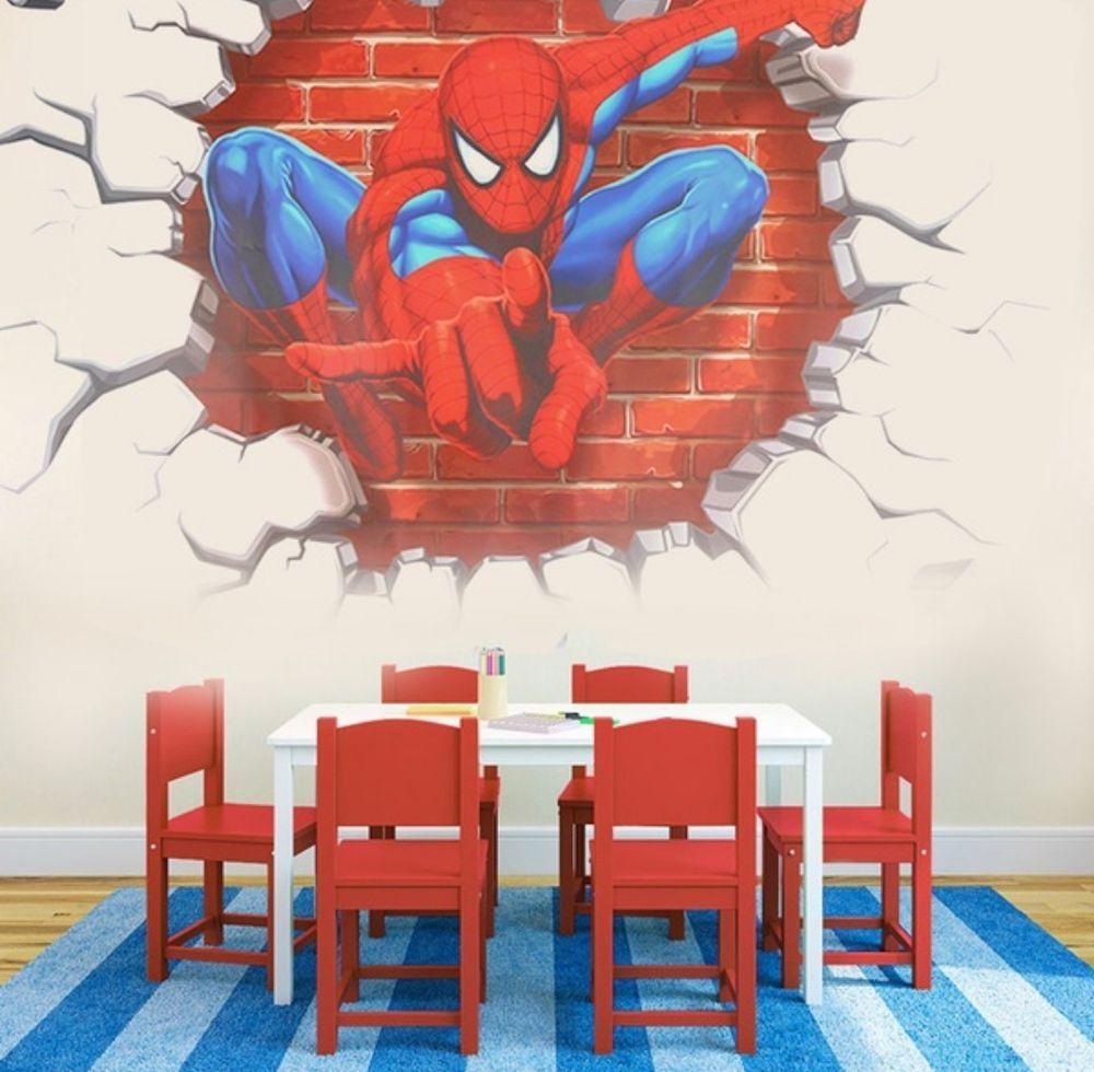 Spiderman Children Room Cartoon Vinyl Wall Sticker Switch Decoration