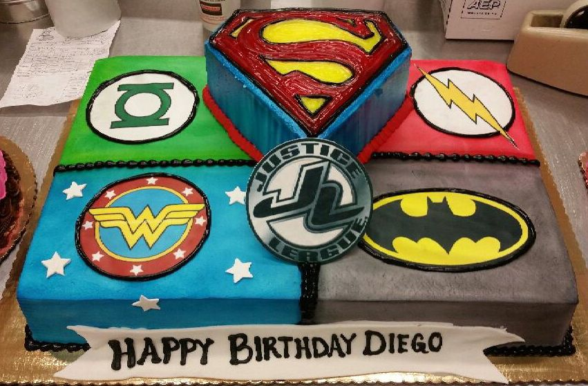 Calumet Bakery Justice League Sheet Cake Birthday Party Menu