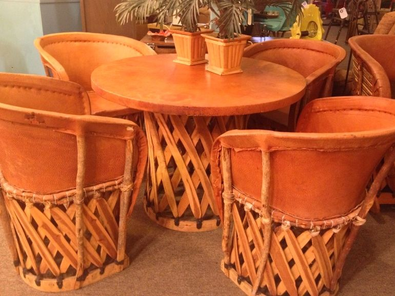 Vintage Mexican Equipale Leather And Wood Dining Table And Chairs