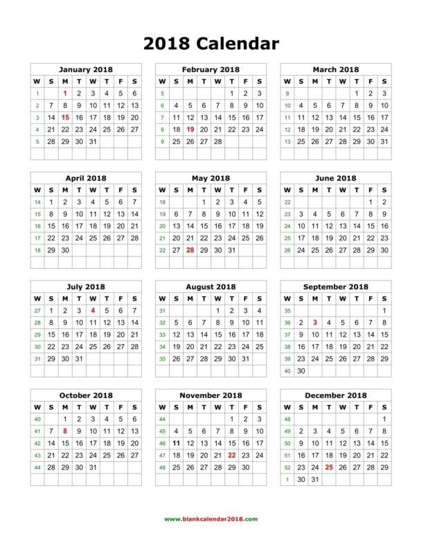 Yearly Calendar 2018 Printable Business Templates Pinterest