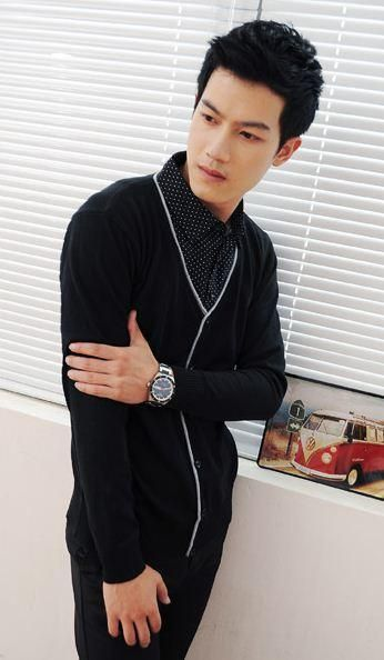 black fake two pieces elegant men sweater and dotted shirt Gangnam Style 4dd0f03aca9
