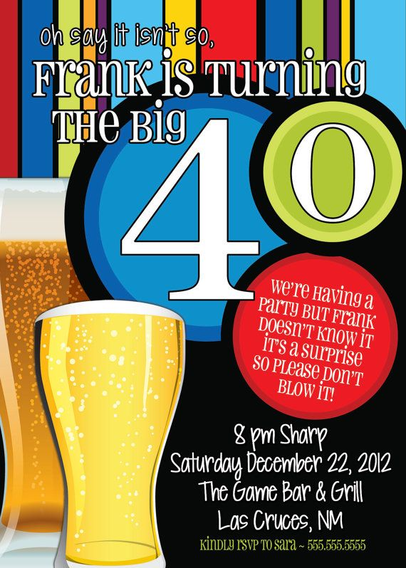 40th Birthday Surprise Party InvitationsBeer Men By TheFunkyOlive 1800