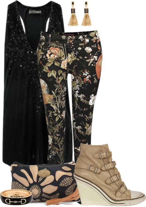 """""""leather sneaker wedges with floral skinny jeans"""" by kswirsding ❤ liked on Polyvore"""