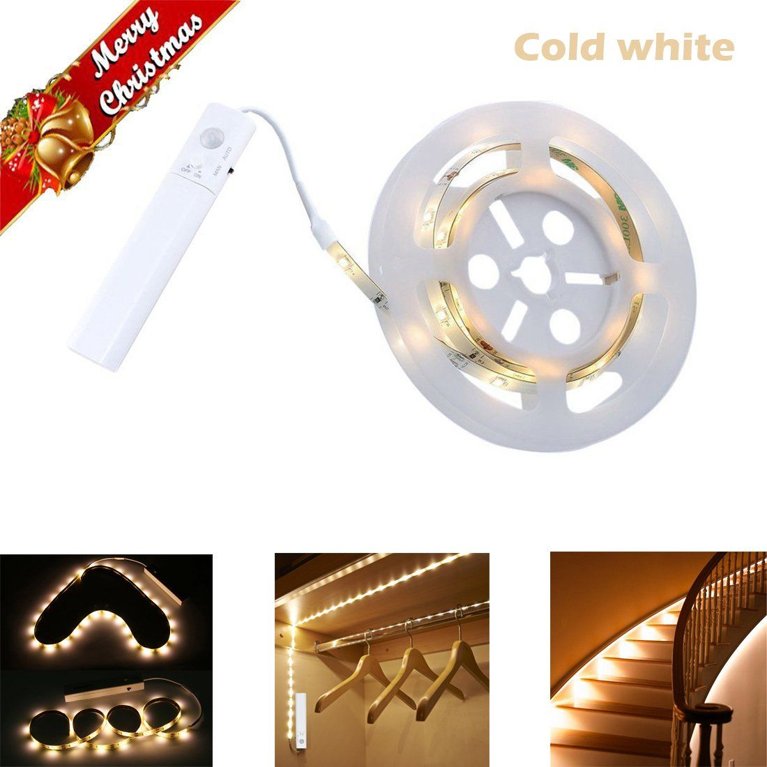 Closet Lights Under Cabinet Motion Activated Led Strip Lighting Battery Ed Bright 40
