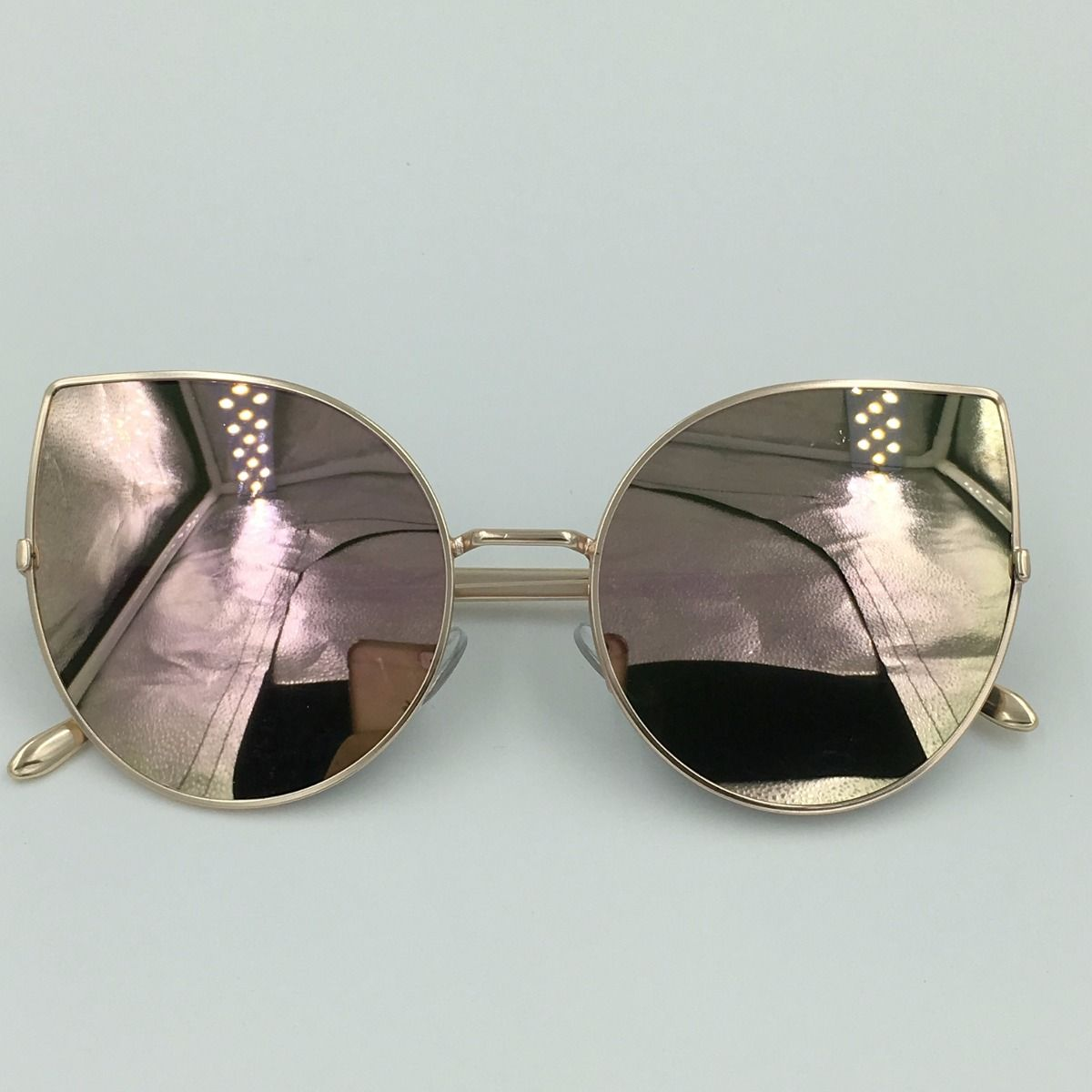 óculos de sol espelhado feminino gato gatinho metal redondo ... 9d8f66df5d