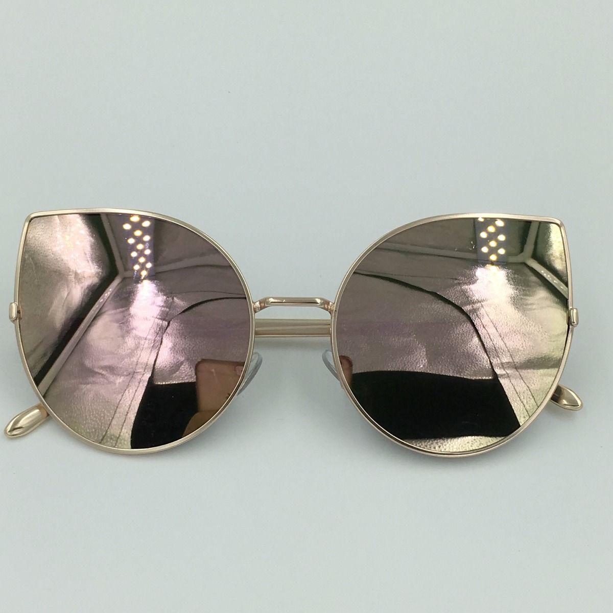 6edbc3408 óculos de sol espelhado feminino gato gatinho metal redondo ...
