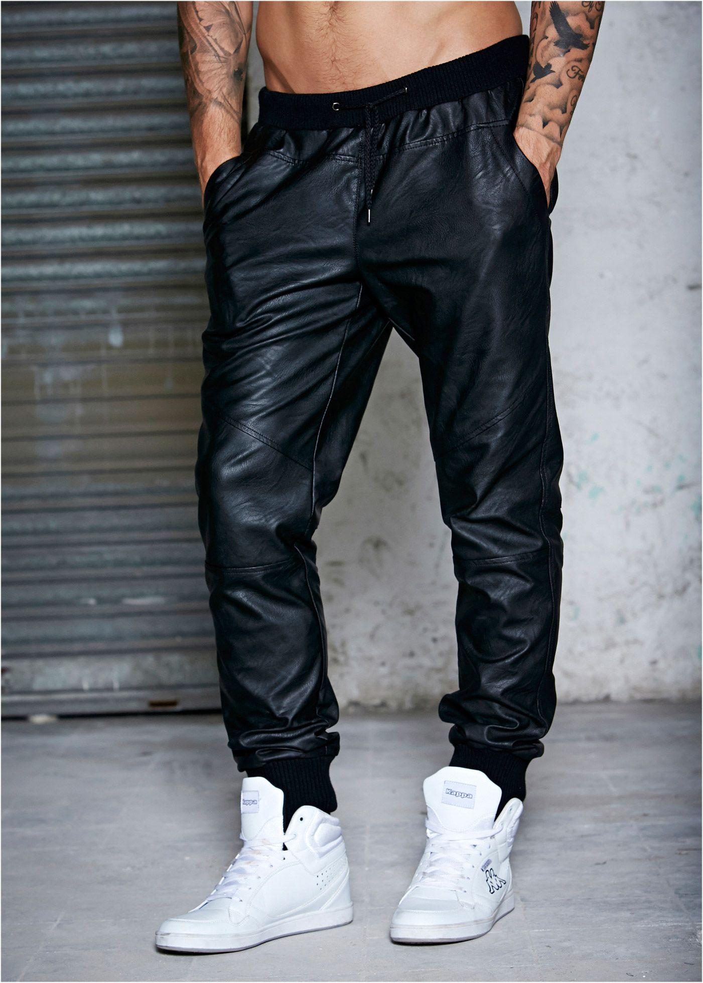 Pantalon Slim Fit Straight en synthétique imitation cuir 34cb451f859