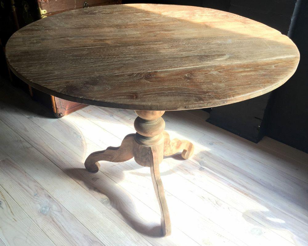 10x Ronde Salontafel : Mooie ronde teakhouten tafel eetkamertafel antieke tafels