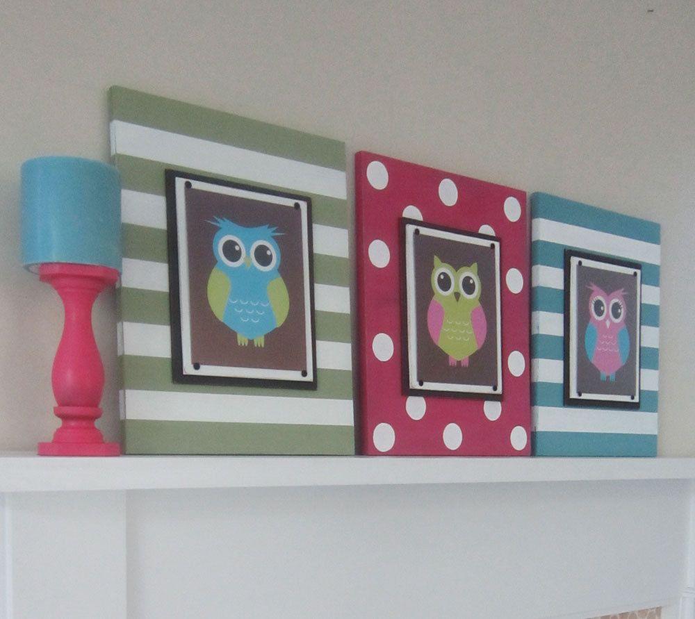 Set of large stripe frames with x owl prints via etsy