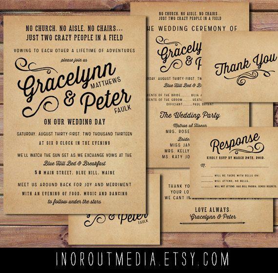Rustic Wedding Invitation Suite   Vintage, Antique, Casual Wedding, Outdoor  Wedding, Invitations