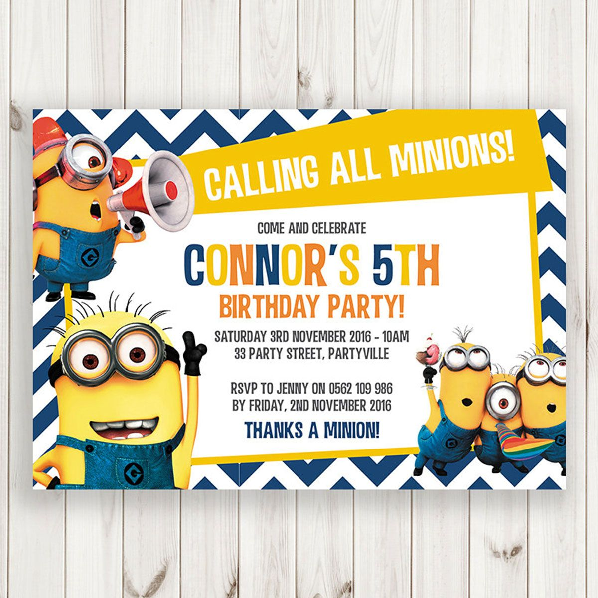 Printable Blue Chevron Calling All Minions Birthday Invitation - Minions birthday invitation template